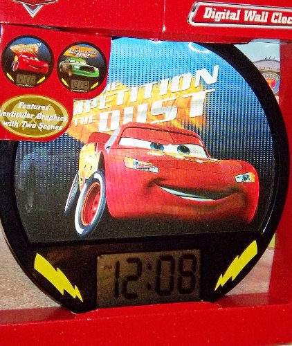 Disney Cars Lightning McQueen & Chick Hicks Lenticular Digital Wall Clock (Cars Dinoco Lighting Mcqueen compare prices)