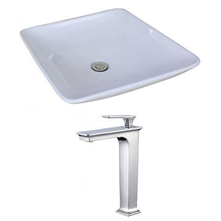 "Jade Bath JB-17948 19.69"" W x 19.69"" D Square Vessel Set with Deck Mount CUPC Faucet, White"
