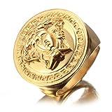 INMUINS Mens Jewelry Plating Kim Medusa Titanium Steel Rings Size 7