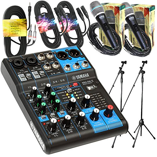 Yamaha Package Bundle - Yamaha MG06X 6-Channel Mixer + 2 EMB Emic800 Microphone + 2 XLR XLarge Cables + 3.5mm to Dual 1/4