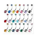15 PCS Assorted Colors Belly Button Ring Surgical Steel Hypoallergenic Lead and Nickel Free,14 Gauge Navel Piercing Body Jewelry (15 PCS:Steel Ball) (Color: 15 PCS:steel ball)