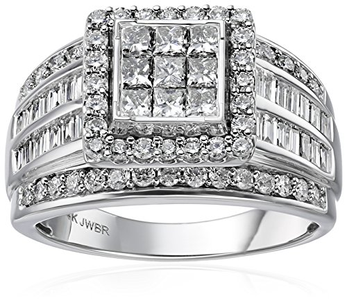 14k-White-Gold-with-Princess-Bugette-and-Rounds-Diamond-Quad-Ring-2cttw-H-I-Color-I2-I3-Clarity