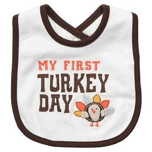 MY FIRST TURKEY DAY Embroidered Turkey Teething Feeding Baby Bib