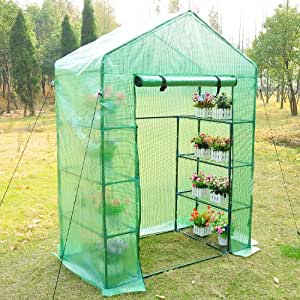 Outsunny 56×30×78 Inch Portable 4 Tier Warm Green House Plants Flower Greenhouse with Shelves, Green