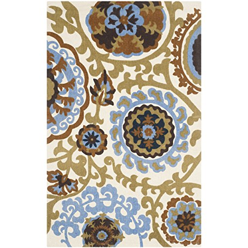 Safavieh Cedar Brook Collection CDR132B Handmade Blue Cotton Area Rug, 2 feet 3 inches by 3 feet 9 inches (2'3