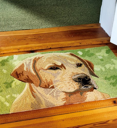 Dog Hooked Rugs: Very Cheap Hearth Rug: Washable Hand-Hooked Yellow