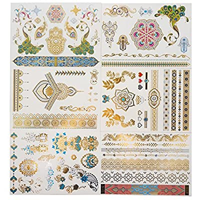 GIFT!!! Tastto 6 Sheets Henna Design Metallic Gold Temporary Tattoos for Women & Girls with Gift