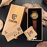 CUCOL Eco Faux Wooden Dail Leather Band Watches for Men and Women Casual Design Brown Color