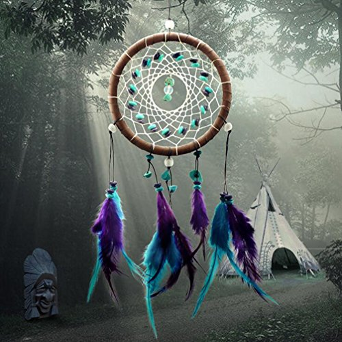 AWAYTR® Forest Dreamcatcher Gift Handmade Dream Catcher Net With Feathers Wall Hanging Decoration Ornament (Turquoise Stone Feather Dream Catcher)