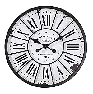Large Round Metal Wood Clock Distressed Roman Numerals