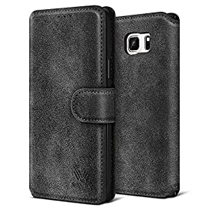 Galaxy Note 5 Case, Note 5 Case, SAVFY Luxury PU Leather Flip Wallet Case For Samsung Galaxy Note 5 [With Stylus Screen Protector Cleaning Cloth], (Black)