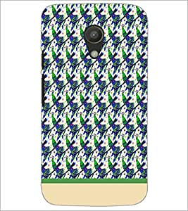 PrintDhaba Peacock pattern D-1913 Back Case Cover for MOTOROLA MOTO G2 (Multi-Coloured)