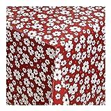 Wachstuch Tischdecke Wachstischdecke Gartentischdecke Abwaschbar nach Wunschmaß Rechteckig BLÜTEN TRAUM ROT-WEISS ( 029-09 ) – 1500 x 140 CM