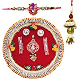 Handcrafted Steel Ganesha Design Pooja Thali Gift With Single Fancy Rakhi & Designer Lumba For Bhabhi - B073RHX19S