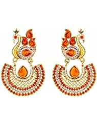 Reeva Fashion Jewellery Gold Alloy With Red Stones Dangle And Drop Earrings For Women - REZ02A3US