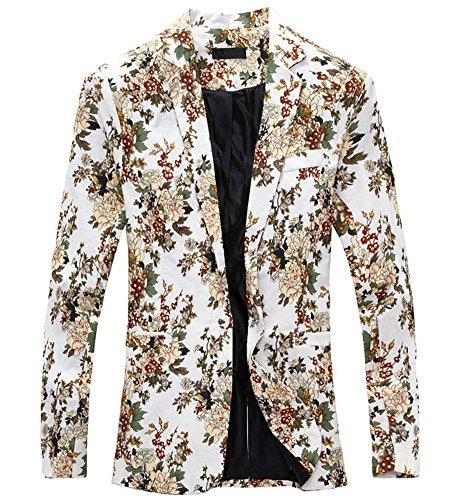 LATUD Men's Vintage Floral Print Lapel Sportcoat Suit Tux Blazer Jacket White