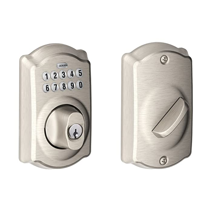 Schlage BE365VCAM619 Camelot Keypad Deadbolt, Satin Nickel