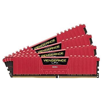 Corsair CMK16GX4M4A2133C13R Vengeance LPX 16GB (4x4GB) DDR4 2133Mhz CL13  Mémoire pour ordinateur de bureau haute performance avec profil XMP 2.0. Rouge
