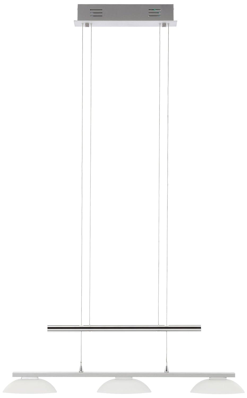 Trio-Leuchten LED-Jojo-Pendelleuchte Aluminium gebürstet/chrom, Glas weiß satiniert, inklusiv 3x 5W LED, Breite: 70 cm, Höhe: 100-160 cm 321010305