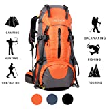 ONEPACK Hiking Backpack,70L(65+5) Waterproof Outdoor Backpacking Bag Daypack for Climbing Mountaineering Camping Travel Cycling Skiing with Rain Cover (70L Orange)