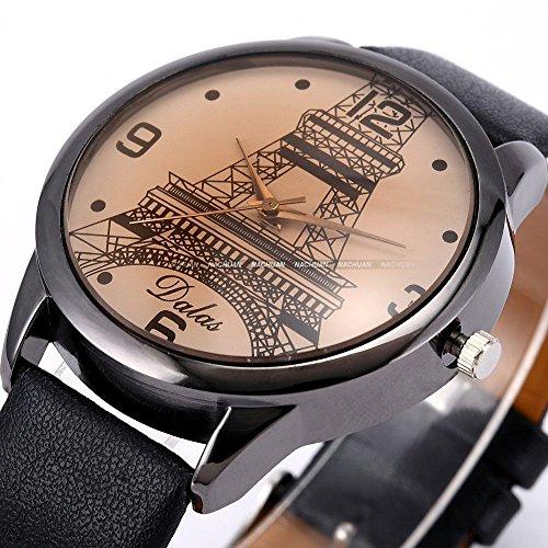 Super Bargain!!! New Model!! Dalas Black Case Eiffel Tower Lady Women Leather Quartz Awesome Wrist Watch