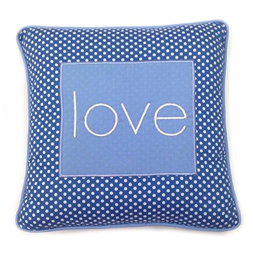 One Grace Place Simplicity Blue Decorative Pillow Love, Blue, Light Blue, White