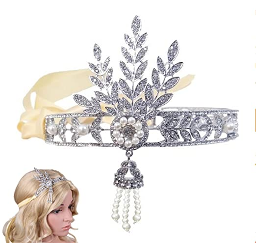 Babeyond® Bling Silver-Tone The Great Gatsby Inspired Leaf Simulated Pearl Headband Hair Tiara w/ Gift Box