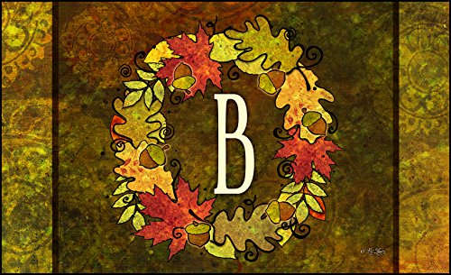 Toland Home Garden Fall Wreath Monogram B 18 x 30-Inch Decorative USA-Produced Standard Indoor-Outdoor Designer Mat 800121