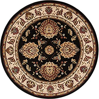 Sultan Sarouk Black Oriental 5 Round 53 Area Rug Persian Floral Formal