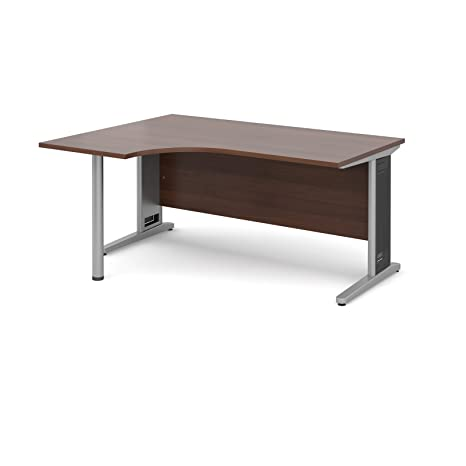 DAMS Largo 1600 Left Handed Ergo Desk, Wood, Walnut