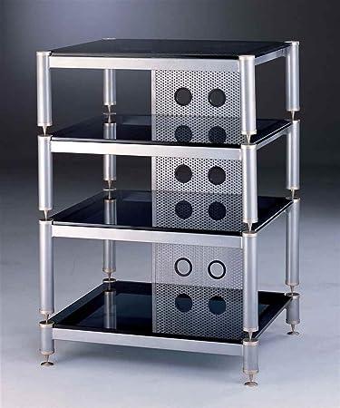 BLG Series Audio Video Rack w Grey Silver Shelves
