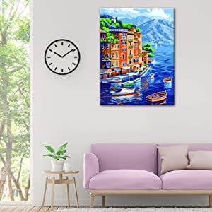 VIGEIYA DIY Paint by Numbers for Adults Include Framed Canvas and Wooden Easel with Brushes and Acrylic Pigment 15.7x19.6inch (Color: Landscape city, Tamaño: 15.7*19.6in)