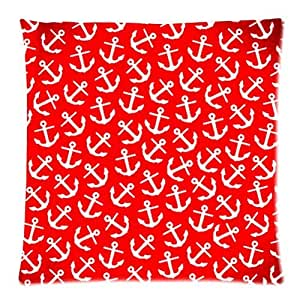Throw Pillow Cover Pattern With Zipper : Amazon.com - Fashiontopdearls Fashion Pillow Cover Navy Style Anchors Pattern Red Custom ...