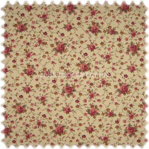 Englische Polstermöbel Landhausstil ~ Möbelstoff Flora Little Rose Rotviolett  Sand in Englisch Leinen