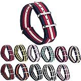GEMONY NATO Strap 20mm Bracelet de Montre Nylon Watch Band Homme Femme Bracelet Boucle Wrist Watch Deployante 11 Couleurs