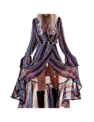 R.Vivimos Women Summer Long Sleeve Cardigan Sexy Maxi Long Dresses