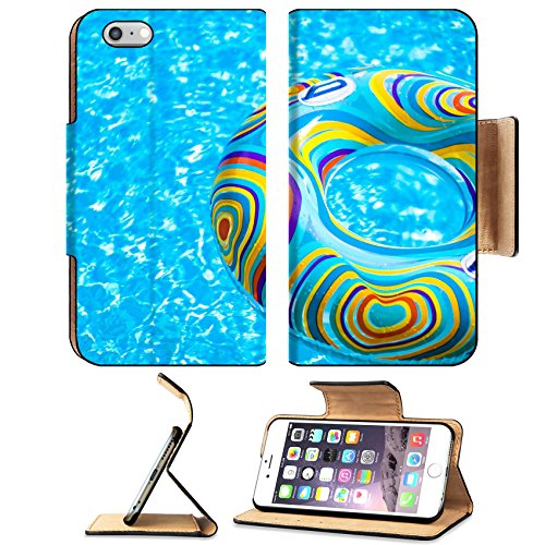 MSD Premium Apple iPhone 6 Plus iPhone 6S Plus Flip Pu Leather Wallet Case Inflatable colorful Rubber Ring floating in blue swimming pool Image ID 23577453