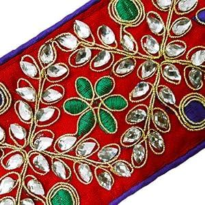 Diseño floral ajuste de la cinta de la tela de la ropa hecha a mano tejida Sari frontera Cordón Por el patio