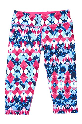 90 Degree by Reflex Kids - Girls Printed Yoga Capris - Junior Activewear - Diamond Drops Strawberry Small (7-8)