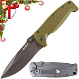 Grand Way Pocket Folding Knife for Men – Compact Tactical Knife with G-10 Olive Handle and Clip – Black Stainless Steel Blade – Perfect for EDC Work and Camping 01275 (Color: Olive 2, Tamaño: Medium)