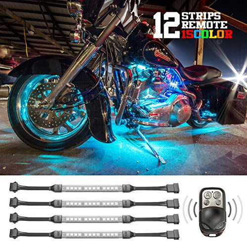 Premium 12 Strip 3 Million Color Remote Flexible Strip Accent Neon Kit For Motorcycle - Equal To 432 Leds