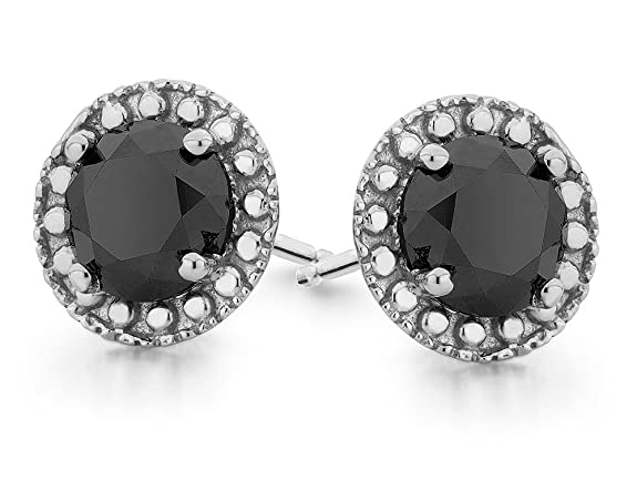 Black Diamond Halo Stud Earrings 1.0 Carat (ctw) in Sterling Silver