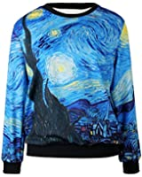 S-ZONE Space Print Sweater Sweatshirt Printing Pullovers Jumpers T Shirts for Women