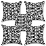 "Black And White 16''x16"" Inches Set Of Five Cushion Cover By BS"