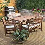 Alfresia Monaco Wooden Garden Furniture Set with Cream Cushions