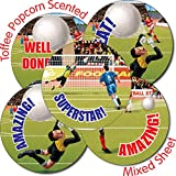 Primary Teaching Services Ltd X28 - 35 Mixed Football 37mm Toffee Popcorn Scented Stickers