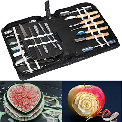 Agile-Shop Culinary Carving Tool Set Fruit Vegetable Food Garnishing / Cutting / Slicing Garnish Tools Kit (46 pcs) (Professional Fruit Carving Kit compare prices)