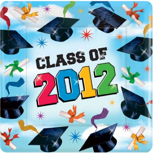 Grad Spirit Graduation 2012 Square Dessert Plates Party Accessory - 1