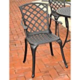 Crosley Furniture Sedona Cast Aluminum High Back Arm Chair, Charcoal Black,Set of 2