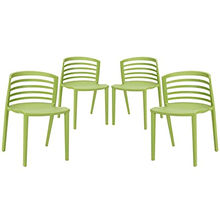 Curvy Dining Chairs Set of 4 - Green